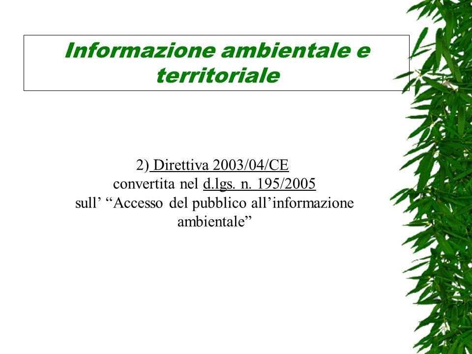 Informazione ambientale e territoriale 2) Direttiva 2003/04/CE convertita nel d.lgs.