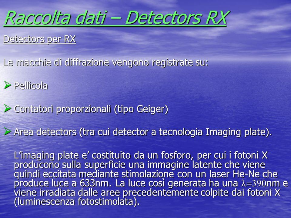 Raccolta dati – Detectors RX Detectors per RX Le macchie di diffrazione vengono registrate su: Pellicola Pellicola Contatori proporzionali (tipo Geige
