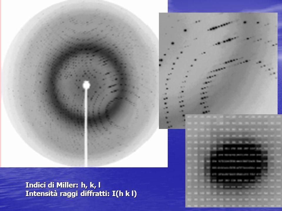 Indici di Miller: h, k, l Intensità raggi diffratti: I(h k l)