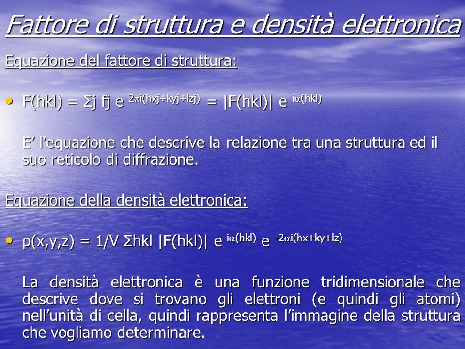Fattore di struttura e densità elettronica Equazione del fattore di struttura: F(hkl) = Σj fj e 2 i(hxj+kyj+lzj) = |F(hkl)| e i (hkl) F(hkl) = Σj fj e