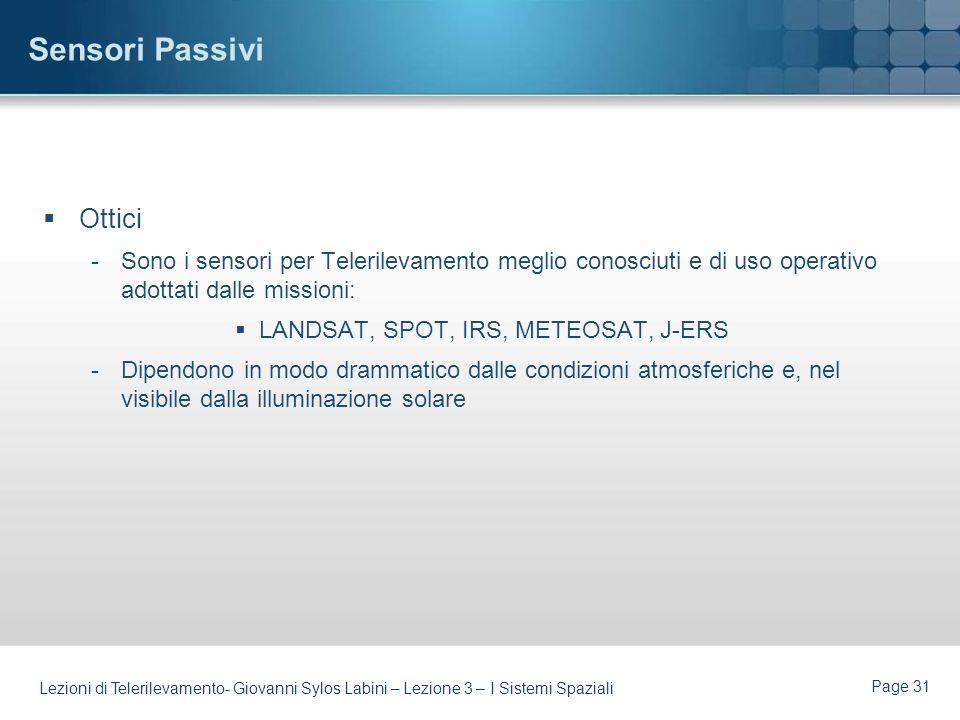 Page 30 Lezioni di Telerilevamento- Giovanni Sylos Labini – Lezione 3 – I Sistemi Spaziali Sensori Attivi (cont.) Microonde (Radar) -Pro:Tecnologia ma