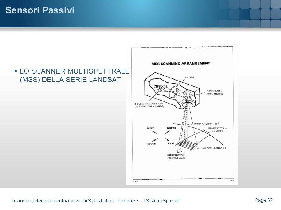 Page 31 Lezioni di Telerilevamento- Giovanni Sylos Labini – Lezione 3 – I Sistemi Spaziali Sensori Passivi Ottici -Sono i sensori per Telerilevamento