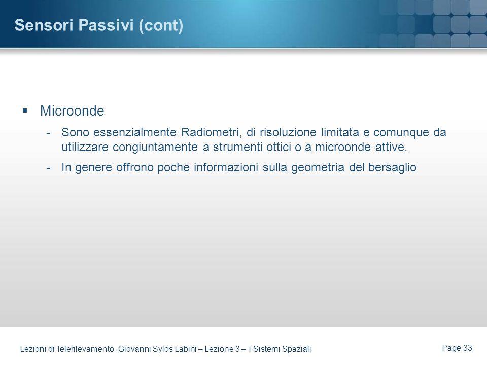 Page 32 Lezioni di Telerilevamento- Giovanni Sylos Labini – Lezione 3 – I Sistemi Spaziali Sensori Passivi LO SCANNER MULTISPETTRALE (MSS) DELLA SERIE