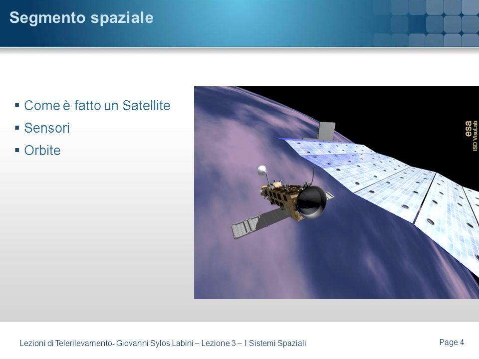 Page 3 Lezioni di Telerilevamento- Giovanni Sylos Labini – Lezione 3 – I Sistemi Spaziali Argomenti Componenti di un Sistema Spaziale Il Segmento Spaz