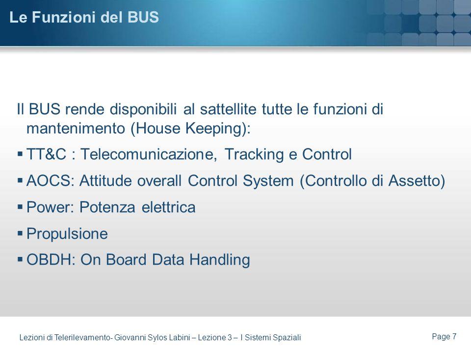 Page 6 Lezioni di Telerilevamento- Giovanni Sylos Labini – Lezione 3 – I Sistemi Spaziali BUS (Piattaforma)