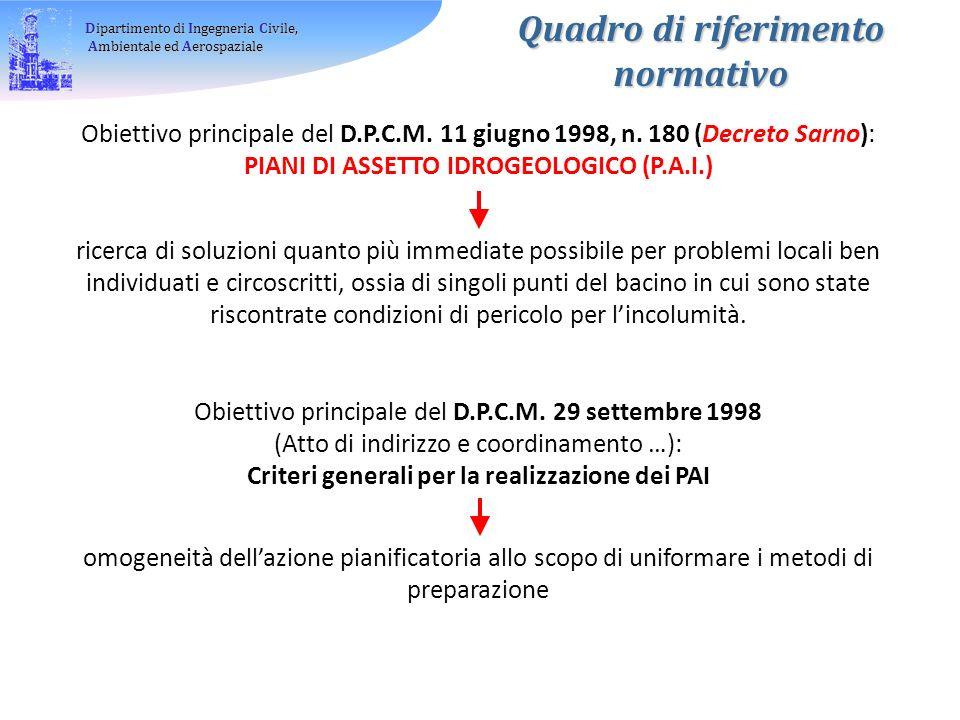 Dipartimento di Ingegneria Civile, Ambientale ed Aerospaziale Ambientale ed Aerospaziale Obiettivo principale del D.P.C.M.