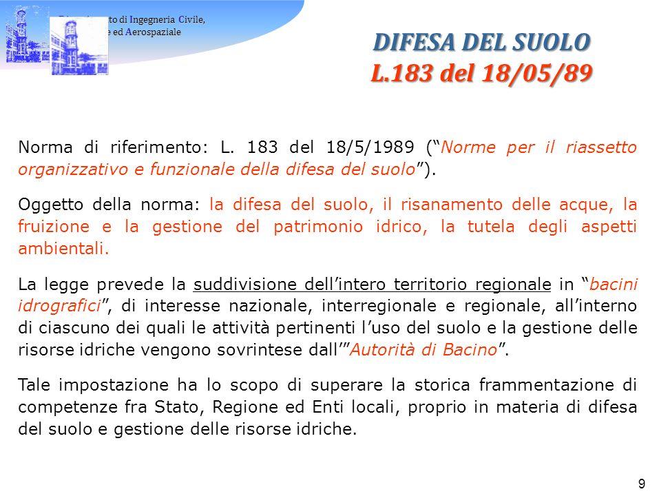 Dipartimento di Ingegneria Civile, Ambientale ed Aerospaziale Ambientale ed Aerospaziale 9 Norma di riferimento: L.