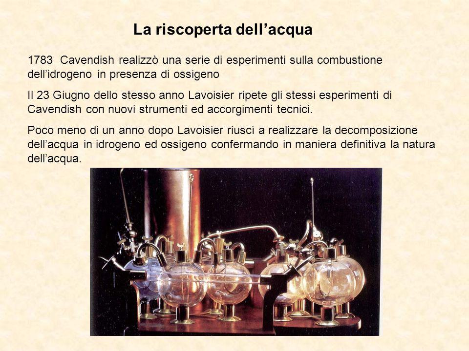 1783 Cavendish realizzò una serie di esperimenti sulla combustione dellidrogeno in presenza di ossigeno Il 23 Giugno dello stesso anno Lavoisier ripet