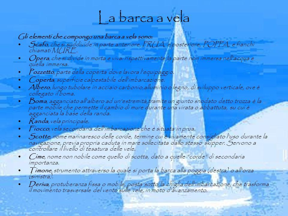 La barca a vela Gli elementi che compongo una barca a vela sono: Scafo, che si suddivide in parte anteriore, PRUA, e posteriore, POPPA, e fianchi chia