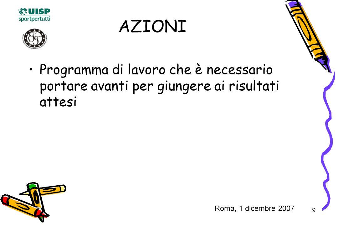 9 AZIONI Programma di lavoro che è necessario portare avanti per giungere ai risultati attesi Roma, 1 dicembre 2007