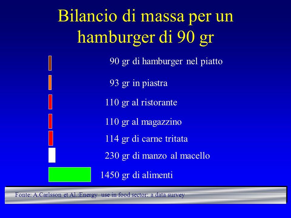 Bilancio di massa per un hamburger di 90 gr 90 gr di hamburger nel piatto 93 gr in piastra 110 gr al ristorante 110 gr al magazzino 114 gr di carne tr