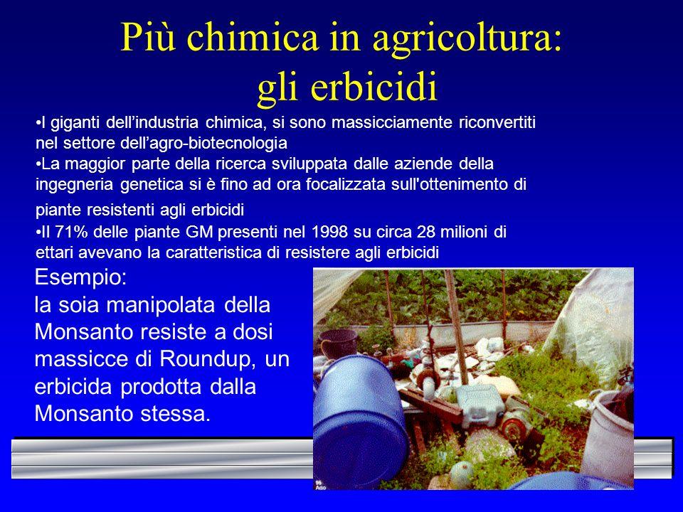 Più chimica in agricoltura: gli erbicidi I giganti dellindustria chimica, si sono massicciamente riconvertiti nel settore dellagro-biotecnologia La ma