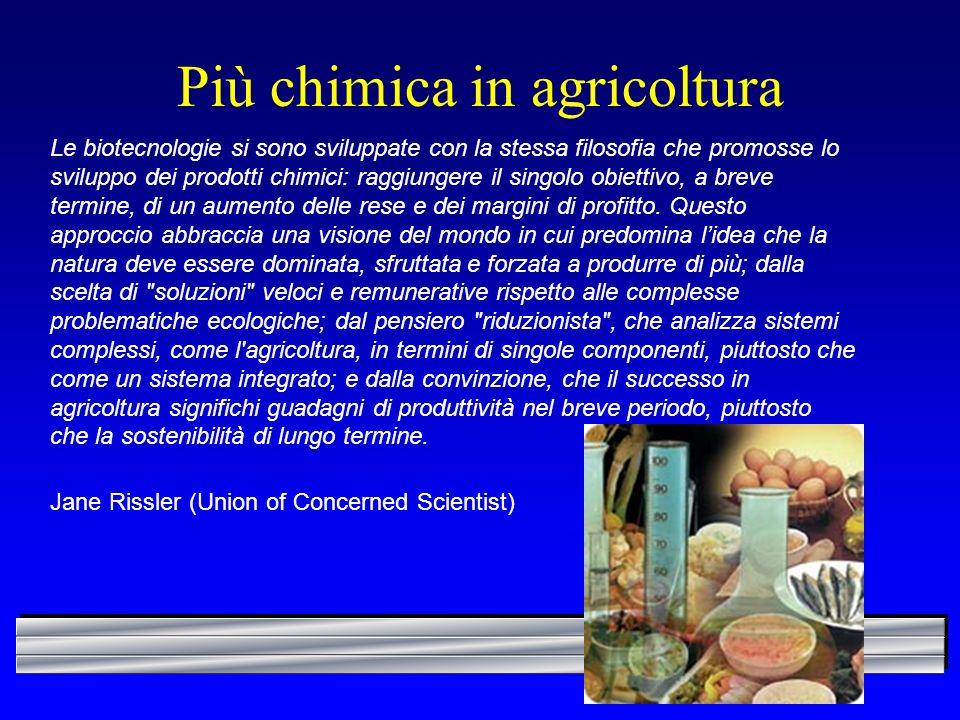 Più chimica in agricoltura Le biotecnologie si sono sviluppate con la stessa filosofia che promosse lo sviluppo dei prodotti chimici: raggiungere il s