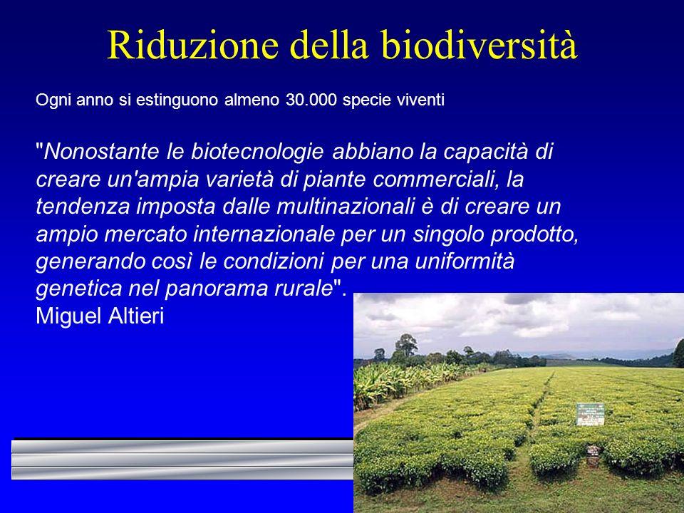 Riduzione della biodiversità Ogni anno si estinguono almeno 30.000 specie viventi