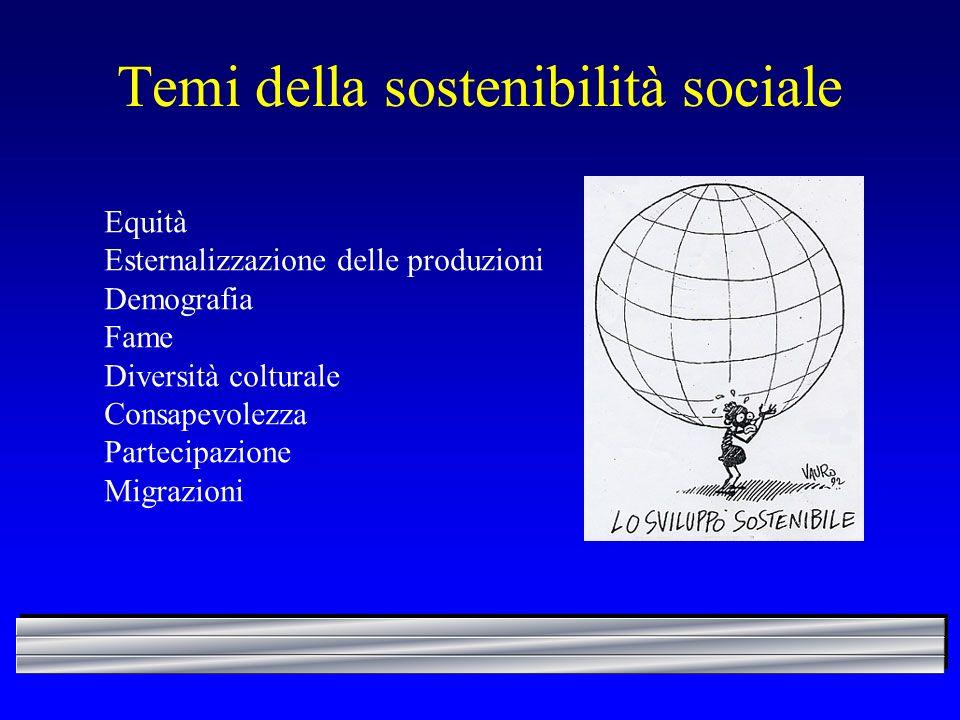 Temi della sostenibilità sociale Equità Esternalizzazione delle produzioni Demografia Fame Diversità colturale Consapevolezza Partecipazione Migrazion