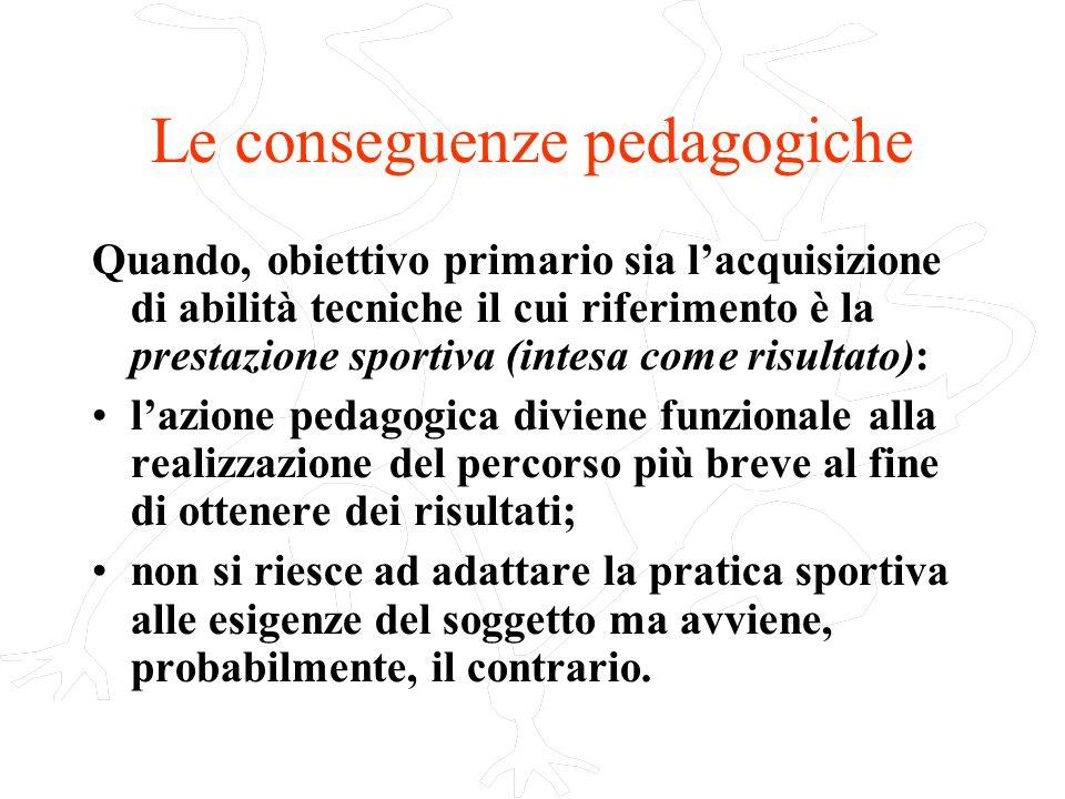 Le conseguenze pedagogiche Quando, obiettivo primario sia lacquisizione di abilità tecniche il cui riferimento è la prestazione sportiva (intesa come