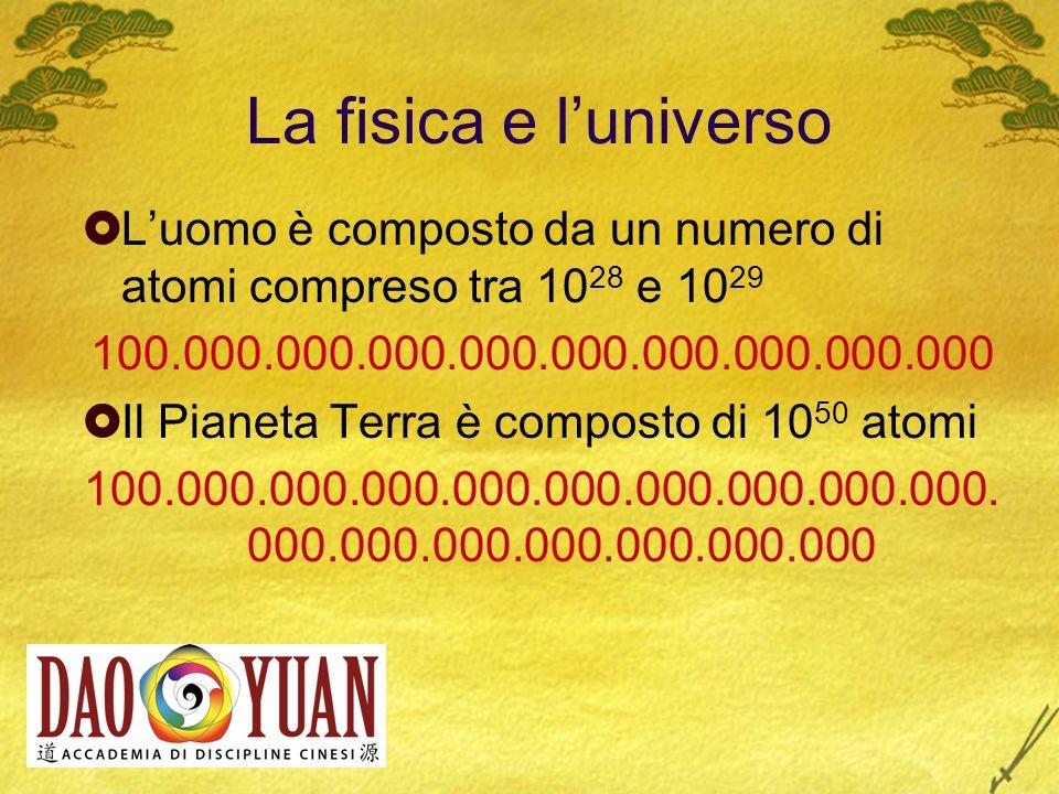 La fisica e l universo Luomo è composto da un numero di atomi compreso tra 10 28 e 10 29 100.000.000.000.000.000.000.000.000.000 Il Pianeta Terra è co