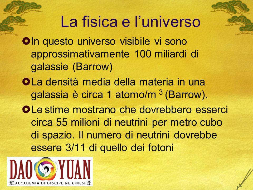 La fisica e l universo In questo universo visibile vi sono approssimativamente 100 miliardi di galassie (Barrow) La densità media della materia in una