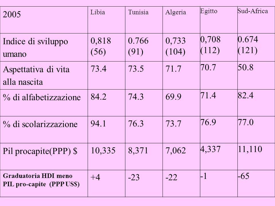 2005 LibiaTunisiaAlgeria EgittoSud-Africa Indice di sviluppo umano 0,818 (56) 0.766 (91) 0,733 (104) 0,708 (112) 0.674 (121) Aspettativa di vita alla nascita 73.473.571.7 70.750.8 % di alfabetizzazione 84.274.369.9 71.482.4 % di scolarizzazione 94.176.373.7 76.977.0 Pil procapite(PPP) $ 10,3358,3717,062 4,33711,110 Graduatoria HDI meno PIL pro-capite (PPP US$) +4-23-22 -65