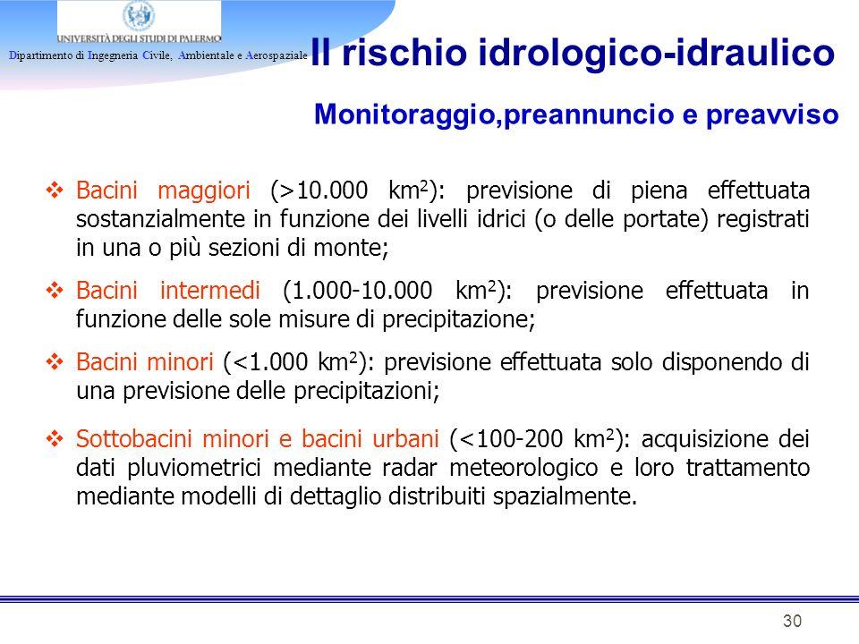 Dipartimento di Ingegneria Civile, Ambientale e Aerospaziale 30 Il rischio idrologico-idraulico Monitoraggio,preannuncio e preavviso Bacini maggiori (