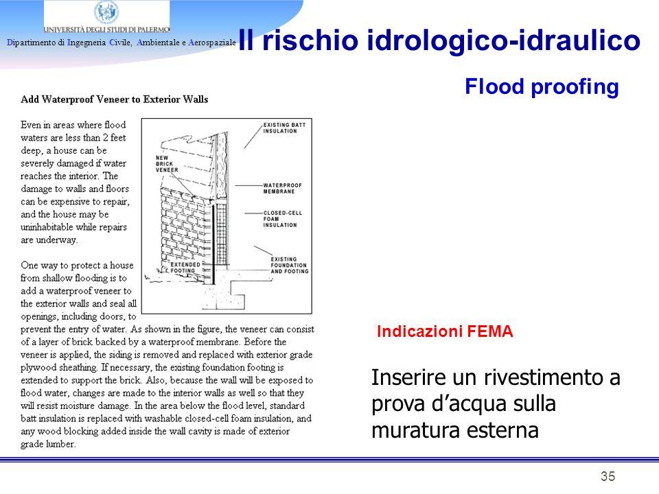 Dipartimento di Ingegneria Civile, Ambientale e Aerospaziale 35 Il rischio idrologico-idraulico Flood proofing Indicazioni FEMA Inserire un rivestimen
