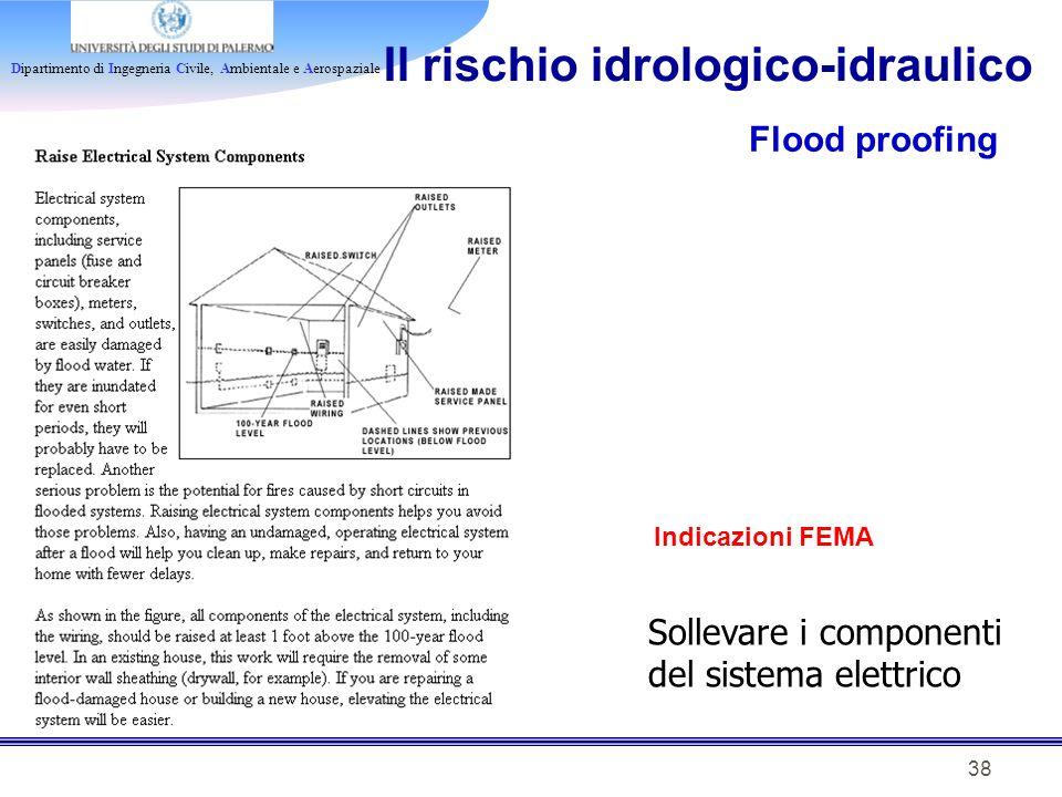 Dipartimento di Ingegneria Civile, Ambientale e Aerospaziale 38 Il rischio idrologico-idraulico Flood proofing Indicazioni FEMA Sollevare i componenti
