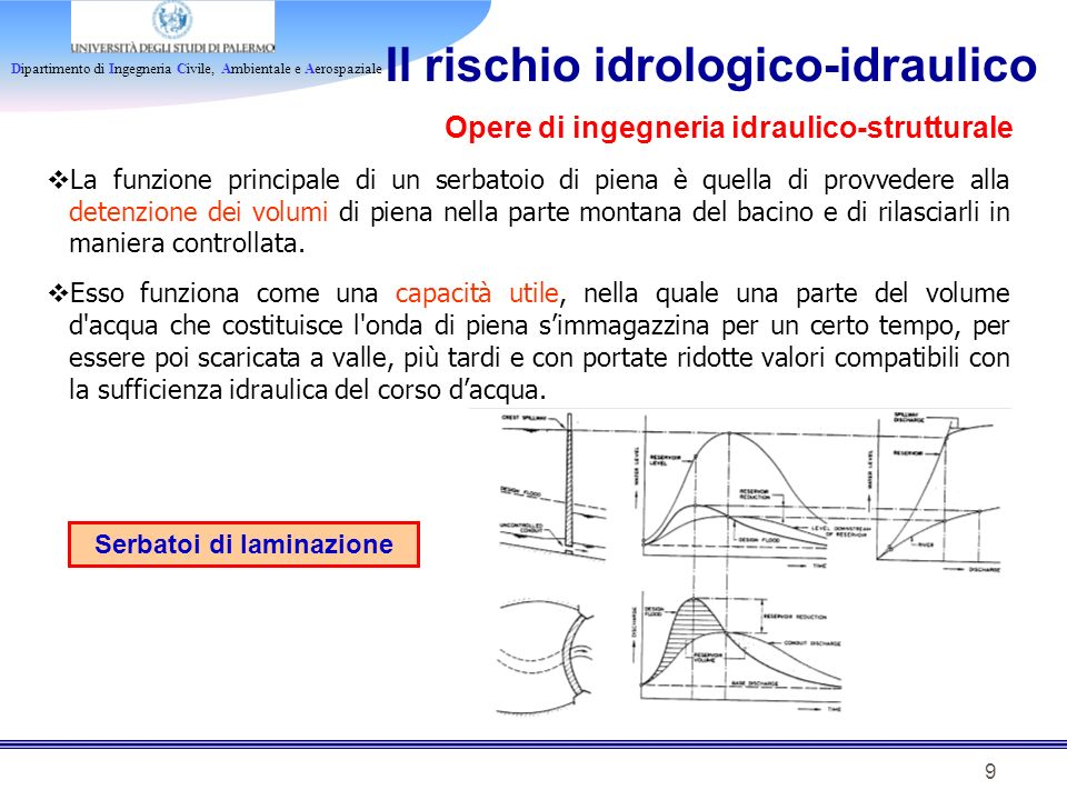 Dipartimento di Ingegneria Civile, Ambientale e Aerospaziale 9 Il rischio idrologico-idraulico Serbatoi di laminazione La funzione principale di un se