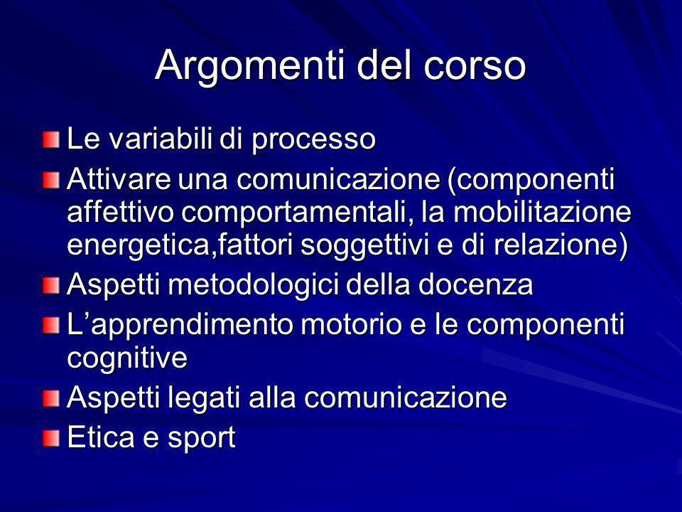 Argomenti del corso Le variabili di processo Attivare una comunicazione (componenti affettivo comportamentali, la mobilitazione energetica,fattori sog
