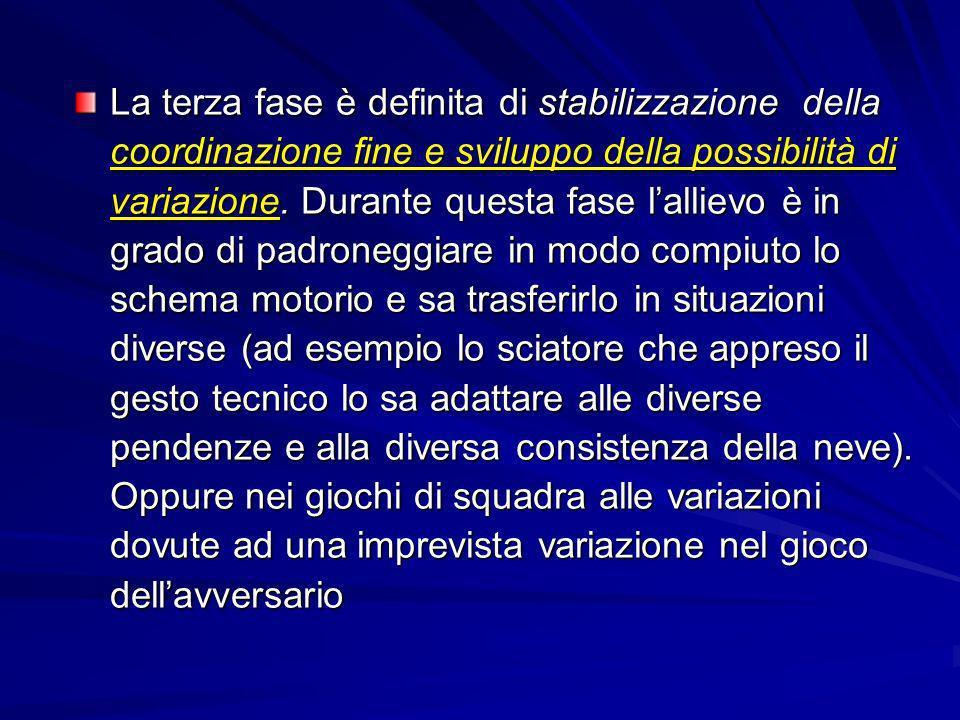 La terza fase è definita di stabilizzazione della coordinazione fine e sviluppo della possibilità di variazione. Durante questa fase lallievo è in gra