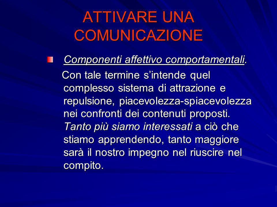 ATTIVARE UNA COMUNICAZIONE Componenti affettivo comportamentali. Con tale termine sintende quel complesso sistema di attrazione e repulsione, piacevol