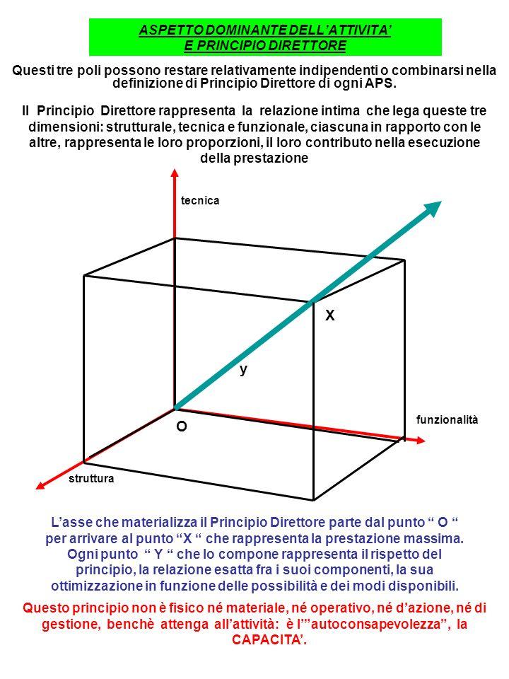 ASPETTO DOMINANTE DELLATTIVITA E PRINCIPIO DIRETTORE Questi tre poli possono restare relativamente indipendenti o combinarsi nella definizione di Principio Direttore di ogni APS.