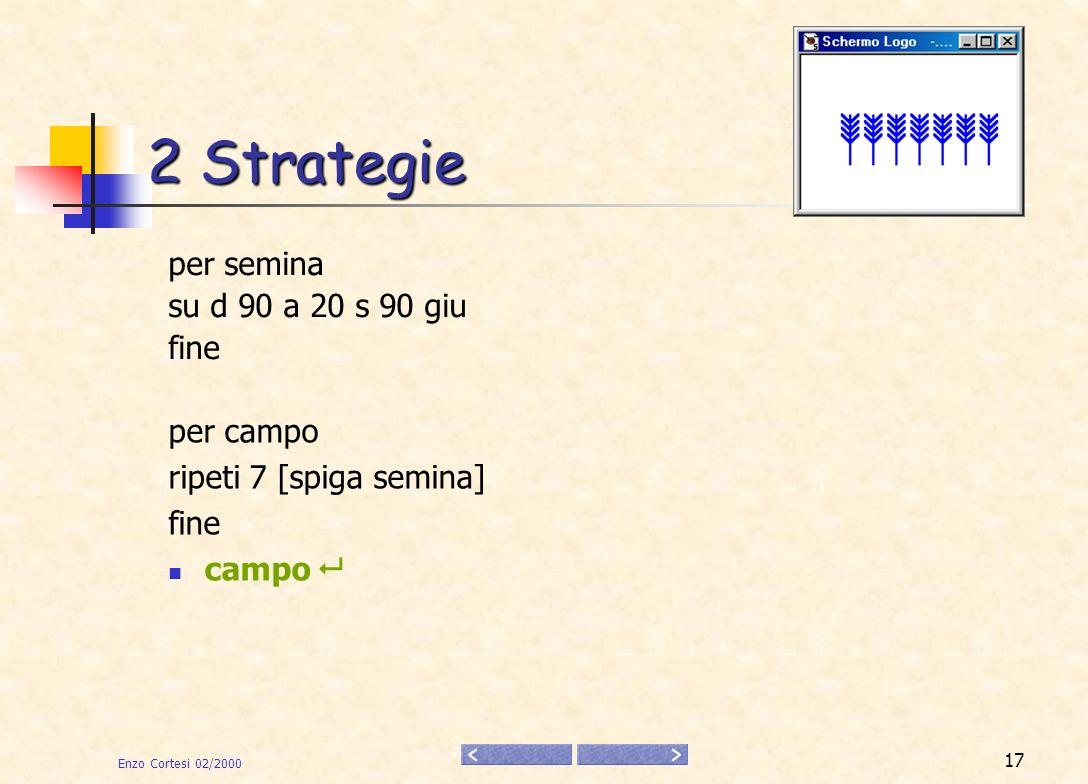 Enzo Cortesi 02/2000 18 2 Strategie per scala ripeti 6 [gradino] fine 2.Disegnare una scala per gradino a 10 d 90 a 20 s 90 fine scala