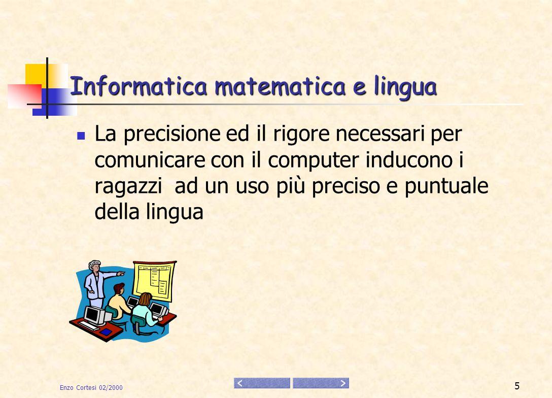 Enzo Cortesi 02/2000 6 Imparo facendo avanti argomenti insufficienti per avanti avanti 40 indietro 80 avanti 40 Nella riga in basso scrivere il comando e premere INVIO