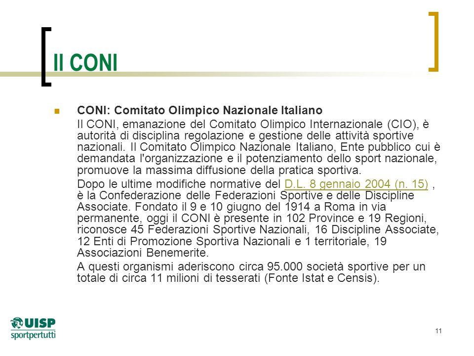 11 Il CONI CONI: Comitato Olimpico Nazionale Italiano Il CONI, emanazione del Comitato Olimpico Internazionale (CIO), è autorità di disciplina regolazione e gestione delle attività sportive nazionali.