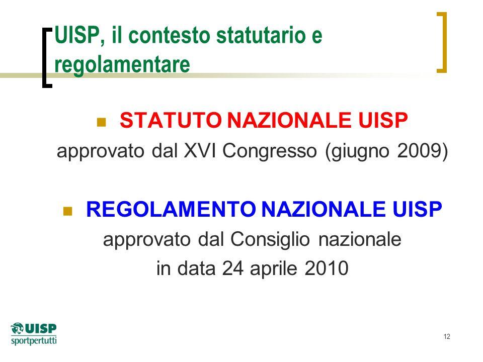 12 UISP, il contesto statutario e regolamentare STATUTO NAZIONALE UISP approvato dal XVI Congresso (giugno 2009) REGOLAMENTO NAZIONALE UISP approvato dal Consiglio nazionale in data 24 aprile 2010
