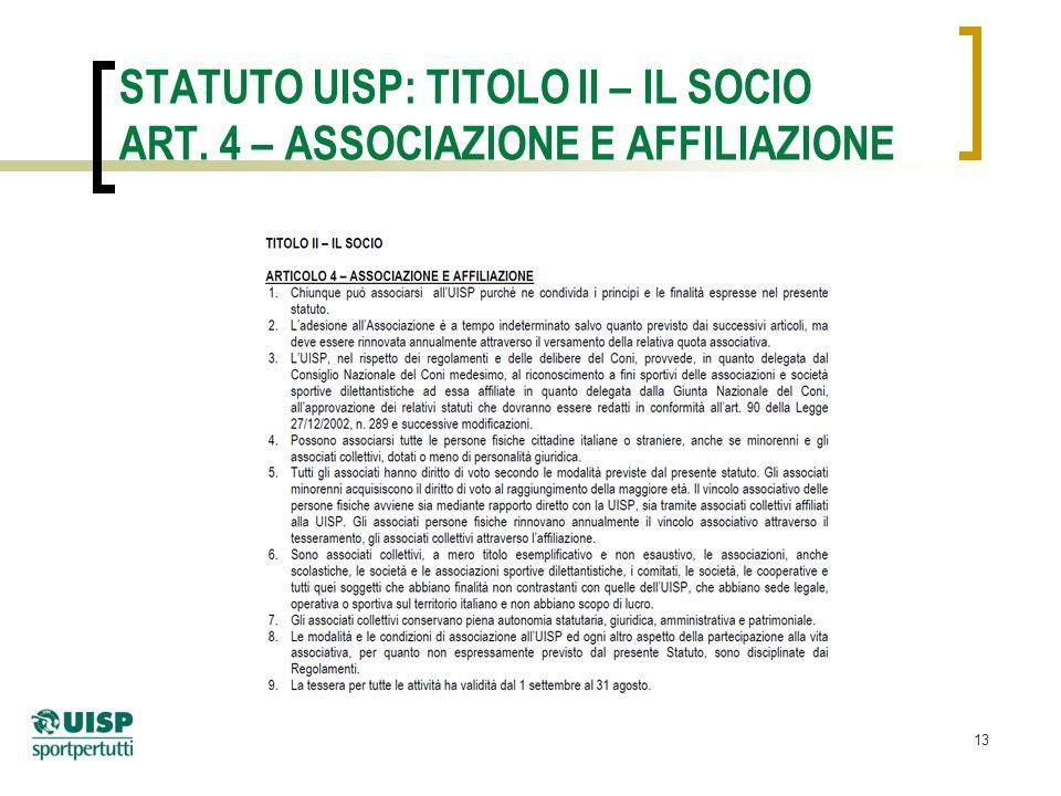 13 STATUTO UISP: TITOLO II – IL SOCIO ART. 4 – ASSOCIAZIONE E AFFILIAZIONE