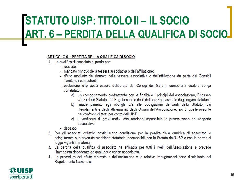 15 STATUTO UISP: TITOLO II – IL SOCIO ART. 6 – PERDITA DELLA QUALIFICA DI SOCIO
