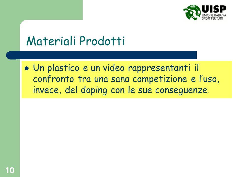 10 Materiali Prodotti Un plastico e un video rappresentanti il confronto tra una sana competizione e luso, invece, del doping con le sue conseguenze.