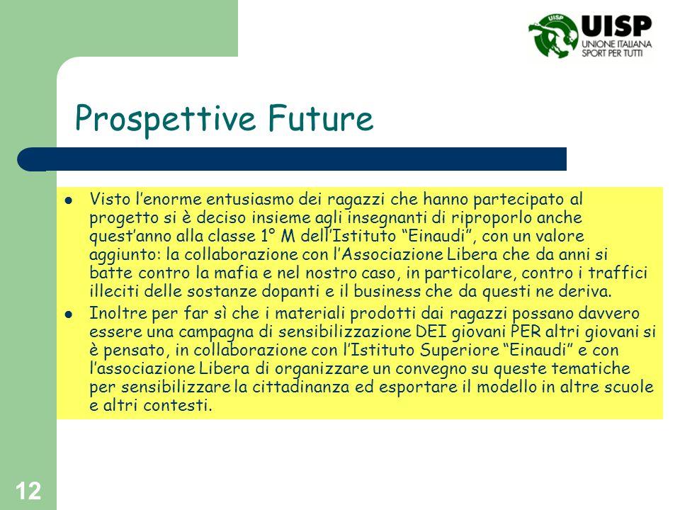 12 Prospettive Future Visto lenorme entusiasmo dei ragazzi che hanno partecipato al progetto si è deciso insieme agli insegnanti di riproporlo anche q