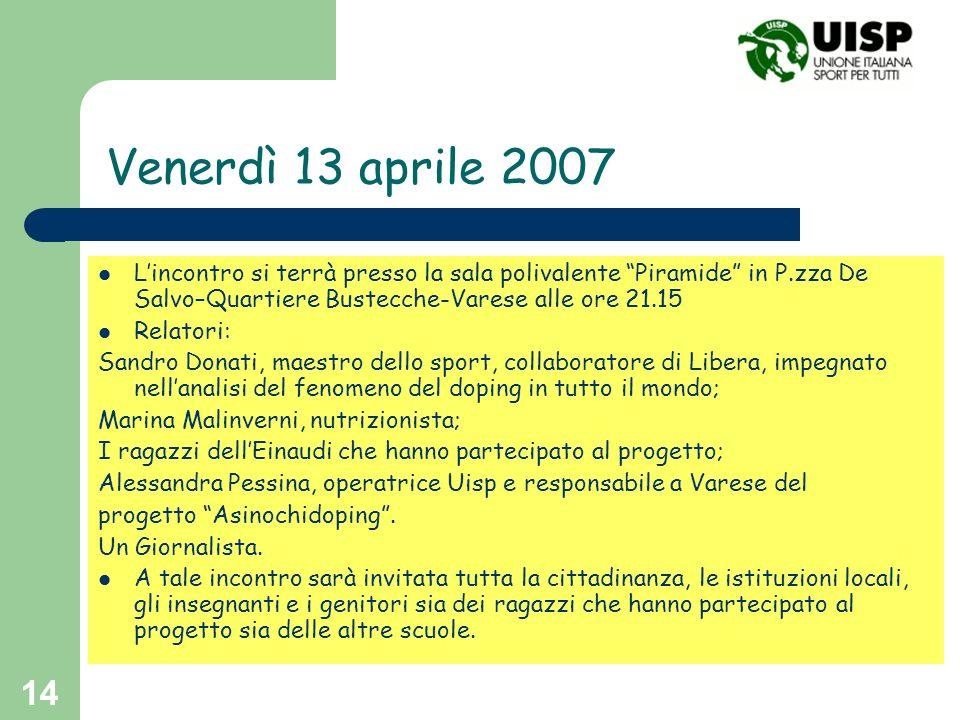 14 Venerdì 13 aprile 2007 Lincontro si terrà presso la sala polivalente Piramide in P.zza De Salvo–Quartiere Bustecche-Varese alle ore 21.15 Relatori: