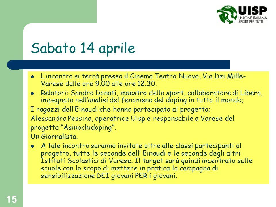 15 Sabato 14 aprile Lincontro si terrà presso il Cinema Teatro Nuovo, Via Dei Mille- Varese dalle ore 9.00 alle ore 12.30. Relatori: Sandro Donati, ma
