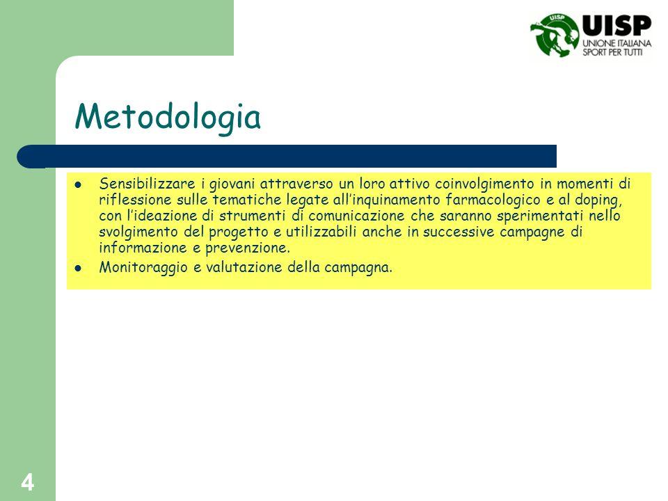 4 Metodologia Sensibilizzare i giovani attraverso un loro attivo coinvolgimento in momenti di riflessione sulle tematiche legate allinquinamento farma