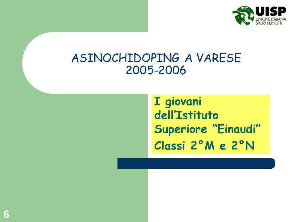 6 ASINOCHIDOPING A VARESE 2005-2006 I giovani dellIstituto Superiore Einaudi Classi 2°M e 2°N