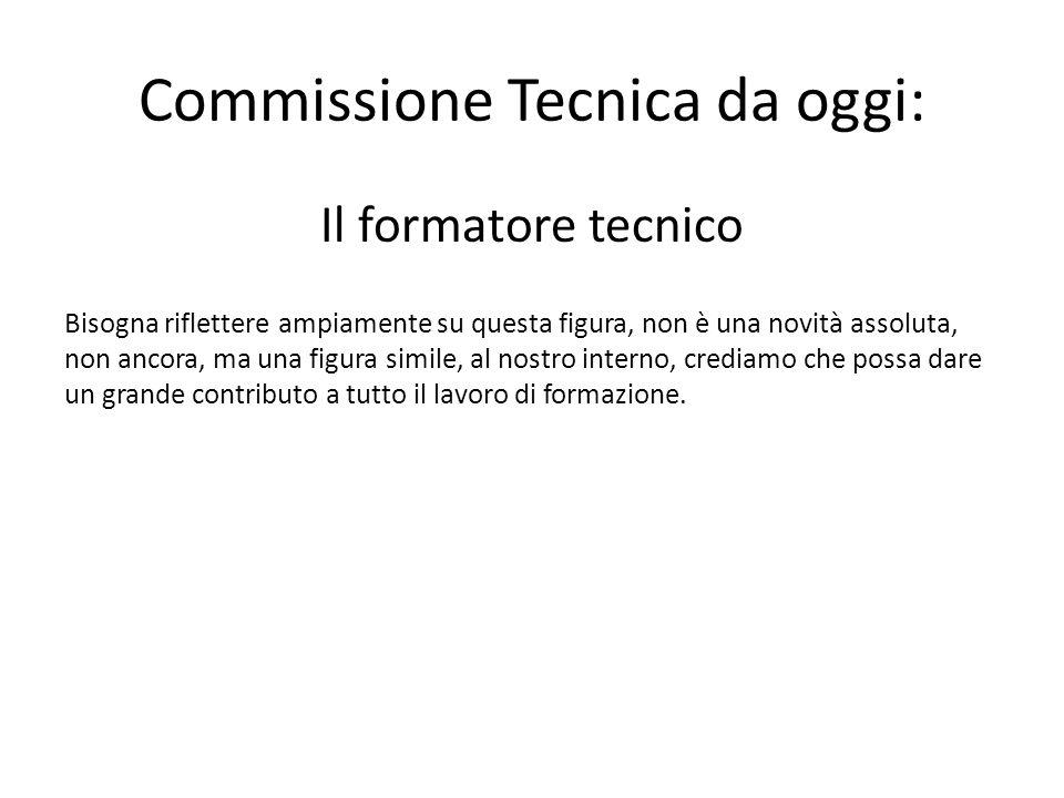 Commissione Tecnica da oggi: Il formatore tecnico Bisogna riflettere ampiamente su questa figura, non è una novità assoluta, non ancora, ma una figura