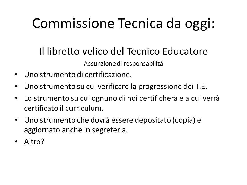 Commissione Tecnica da oggi: Il libretto velico del Tecnico Educatore Assunzione di responsabilità Uno strumento di certificazione. Uno strumento su c