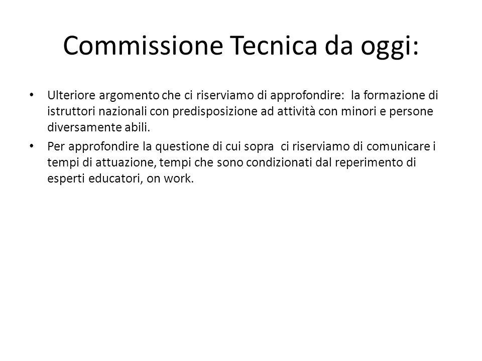 Commissione Tecnica da oggi: Ulteriore argomento che ci riserviamo di approfondire: la formazione di istruttori nazionali con predisposizione ad attiv
