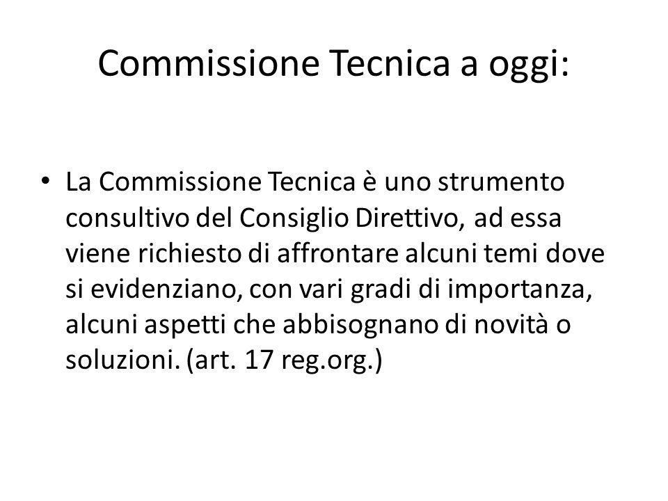Commissione Tecnica a oggi: La Commissione Tecnica è uno strumento consultivo del Consiglio Direttivo, ad essa viene richiesto di affrontare alcuni te