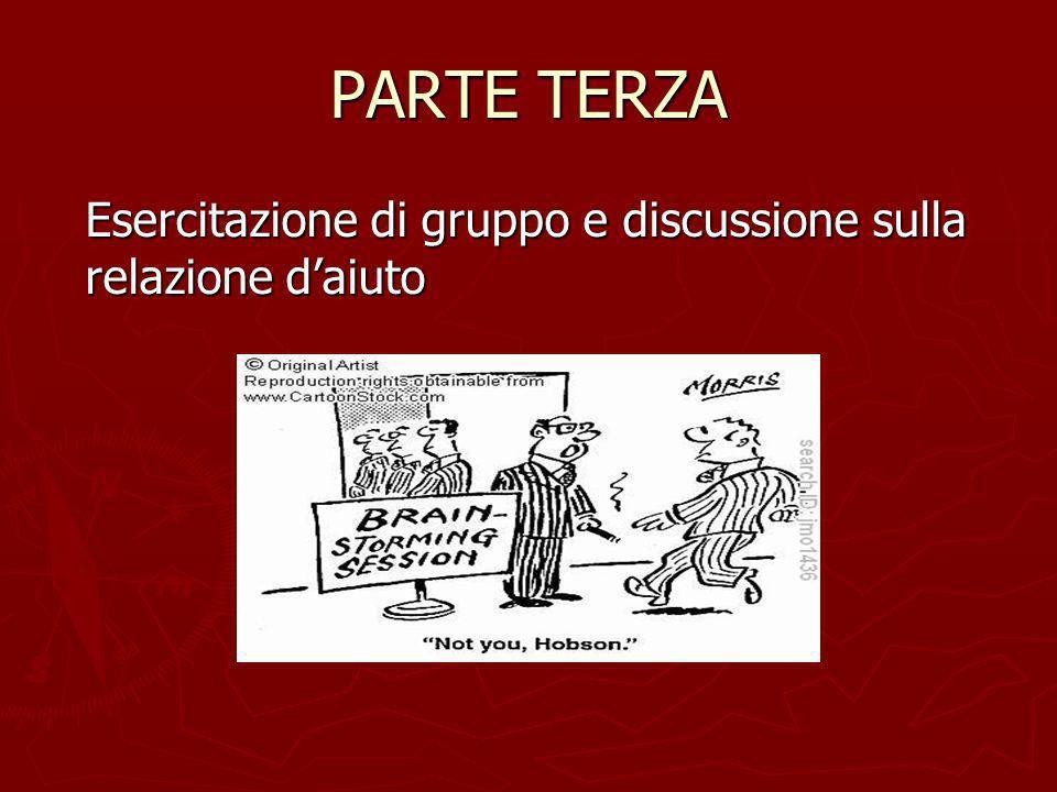 PARTE TERZA Esercitazione di gruppo e discussione sulla relazione daiuto