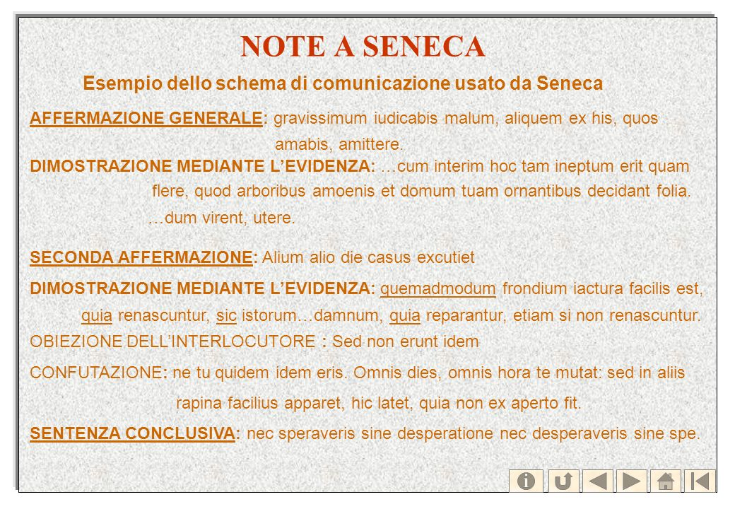 NOTE A SENECA Esempio dello schema di comunicazione usato da Seneca AFFERMAZIONE GENERALE: gravissimum iudicabis malum, aliquem ex his, quos amabis, a