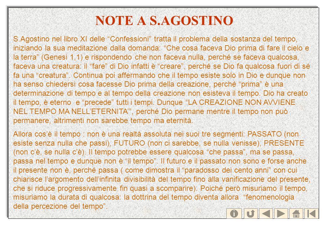 NOTE A S.AGOSTINO S.Agostino nel libro XI delle Confessioni tratta il problema della sostanza del tempo, iniziando la sua meditazione dalla domanda: C